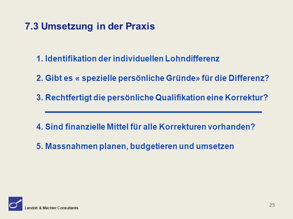 Landolt & Mächler Consultants 7.3 Umsetzung in der Praxis 1. Identifikation der individuellen Lohndifferenz 2. Gibt es « spezielle persönliche Gründe»