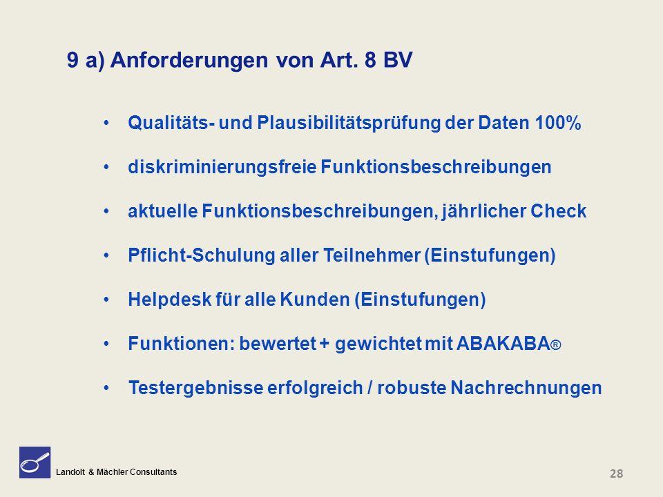 Landolt & Mächler Consultants 9 a) Anforderungen von Art. 8 BV Qualitäts- und Plausibilitätsprüfung der Daten 100% diskriminierungsfreie Funktionsbesc