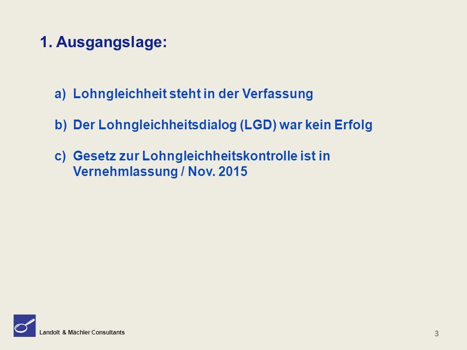 Landolt & Mächler Consultants 1. Ausgangslage: a) Lohngleichheit steht in der Verfassung b) Der Lohngleichheitsdialog (LGD) war kein Erfolg c) Gesetz