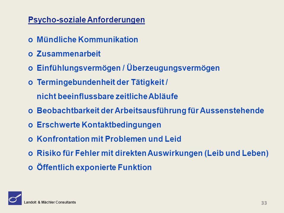Landolt & Mächler Consultants Psycho-soziale Anforderungen o Mündliche Kommunikation o Zusammenarbeit o Einfühlungsvermögen / Überzeugungsvermögen o T