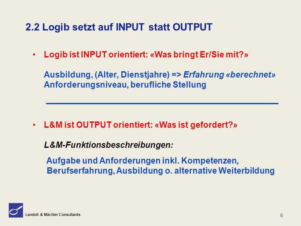 Landolt & Mächler Consultants 2.2 Logib setzt auf INPUT statt OUTPUT Logib ist INPUT orientiert: «Was bringt Er/Sie mit?» Ausbildung, (Alter, Dienstja