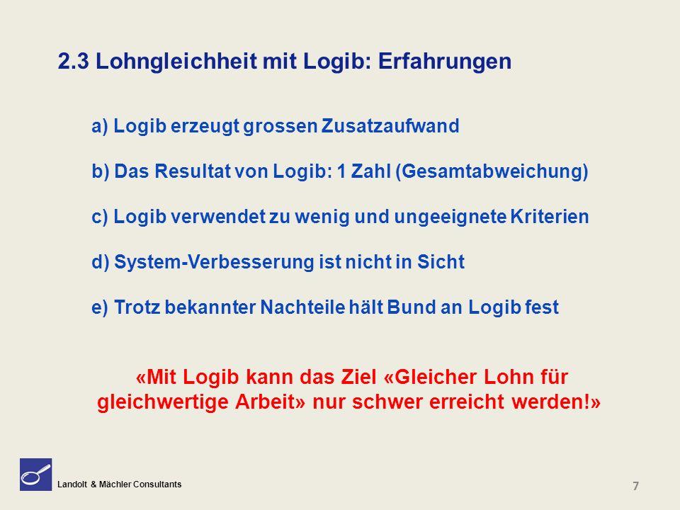 Landolt & Mächler Consultants 2.3 Lohngleichheit mit Logib: Erfahrungen 7 a) Logib erzeugt grossen Zusatzaufwand b) Das Resultat von Logib: 1 Zahl (Ge