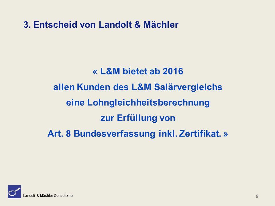 Landolt & Mächler Consultants 19 6.2 Das Resultat und seine Qualität (Bsp.) Das heisst: Frauen verdienen 2.2% weniger als die Männer Mit 95% Zuverlässigkeit ist dieser Wert ( -3.3% bis -1.1%) R 2 = 0.832 Korrelationskoeffizient