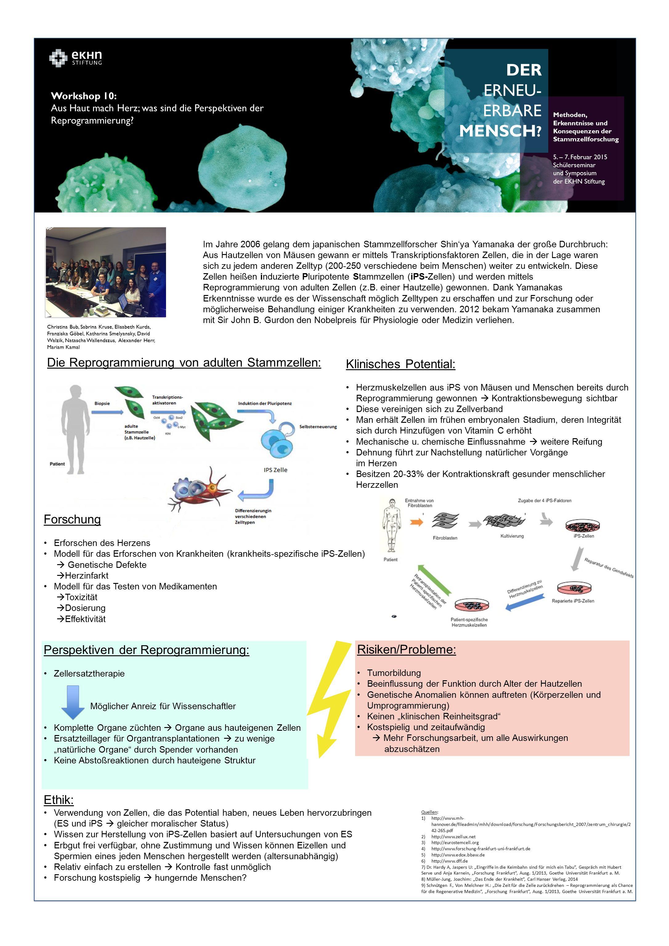 DER ERNEU- ERBARE MENSCH ? Methoden, Erkenntnisse und Konsequenzen der Stammzellforschung 5. – 7. Februar 2015 Schülerseminar und Symposium der EKHN S