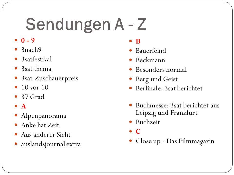 Sendungen A - Z 0 - 9 3nach9 3satfestival 3sat thema 3sat-Zuschauerpreis 10 vor 10 37 Grad A Alpenpanorama Anke hat Zeit Aus anderer Sicht auslandsjou