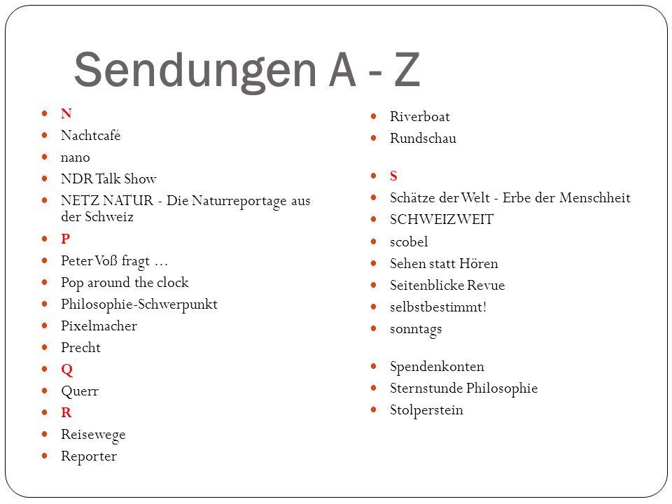 Sendungen A - Z N Nachtcafé nano NDR Talk Show NETZ NATUR - Die Naturreportage aus der Schweiz P Peter Voß fragt... Pop around the clock Philosophie-S