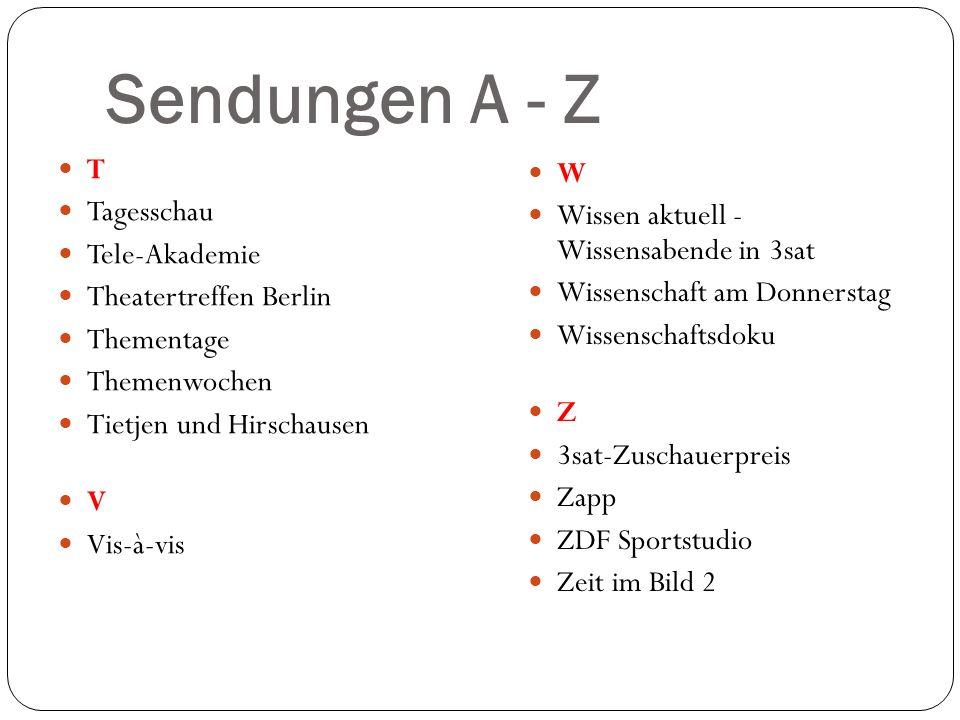 Sendungen A - Z T Tagesschau Tele-Akademie Theatertreffen Berlin Thementage Themenwochen Tietjen und Hirschausen V Vis-à-vis W Wissen aktuell - Wissen