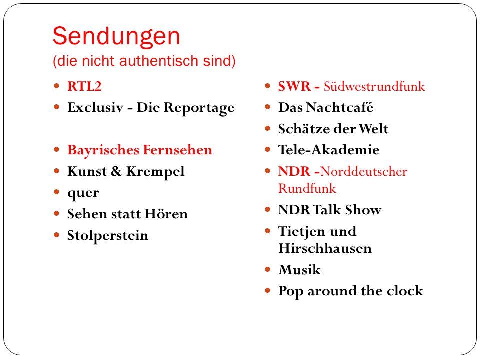 Sendungen (die nicht autentisch sind) MDR - Mitteldeutscher Rundfunk Riverboat - Die MDR- Talkshow aus Leipzig selbstbestimmt.