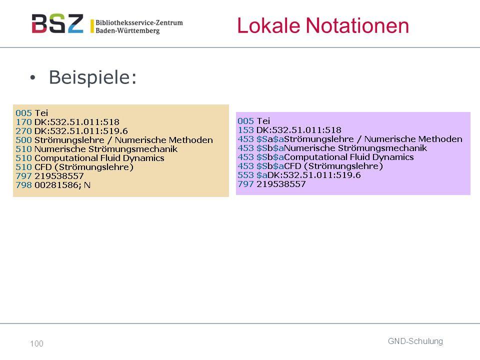100 Lokale Notationen Beispiele: GND-Schulung