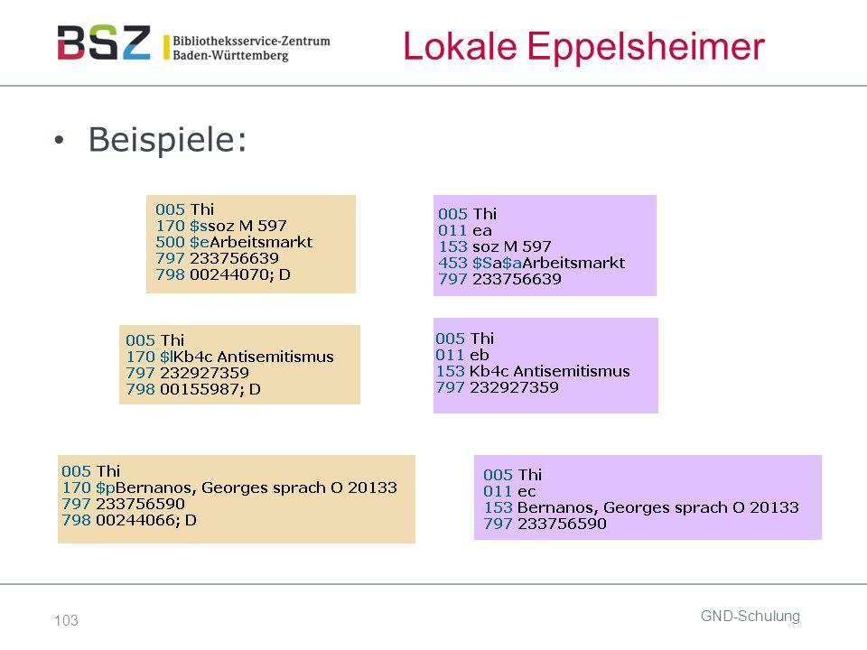 103 Lokale Eppelsheimer Beispiele: GND-Schulung