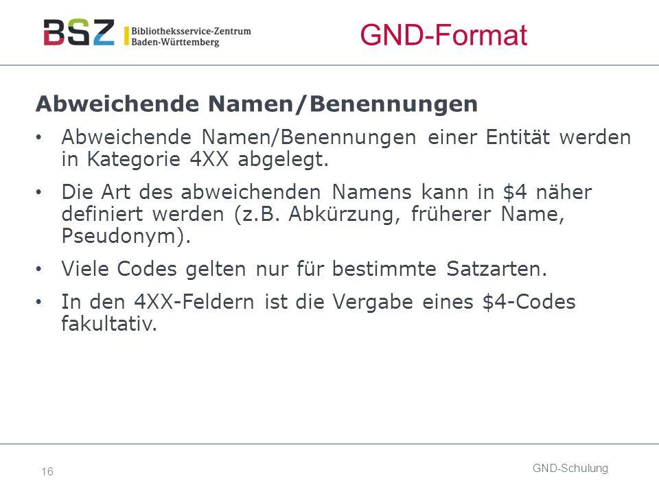 16 GND-Format Abweichende Namen/Benennungen Abweichende Namen/Benennungen einer Entität werden in Kategorie 4XX abgelegt.