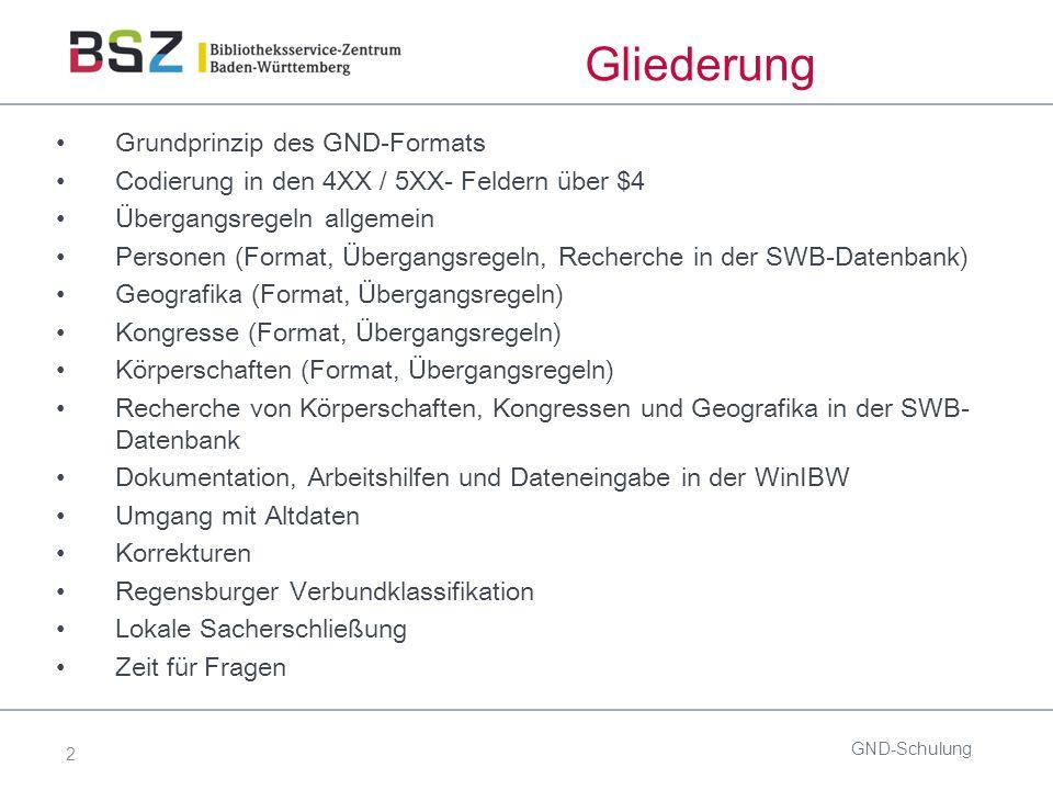 2 Gliederung Grundprinzip des GND-Formats Codierung in den 4XX / 5XX- Feldern über $4 Übergangsregeln allgemein Personen (Format, Übergangsregeln, Recherche in der SWB-Datenbank) Geografika (Format, Übergangsregeln) Kongresse (Format, Übergangsregeln) Körperschaften (Format, Übergangsregeln) Recherche von Körperschaften, Kongressen und Geografika in der SWB- Datenbank Dokumentation, Arbeitshilfen und Dateneingabe in der WinIBW Umgang mit Altdaten Korrekturen Regensburger Verbundklassifikation Lokale Sacherschließung Zeit für Fragen GND-Schulung