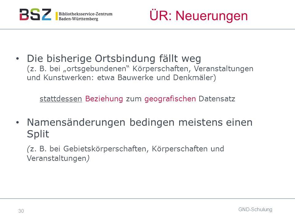 30 GND-Schulung Die bisherige Ortsbindung fällt weg (z.