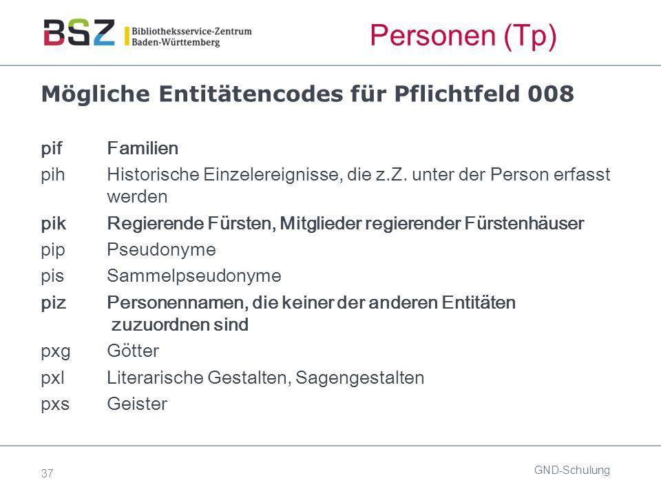 37 Mögliche Entitätencodes für Pflichtfeld 008 pif Familien pih Historische Einzelereignisse, die z.Z.
