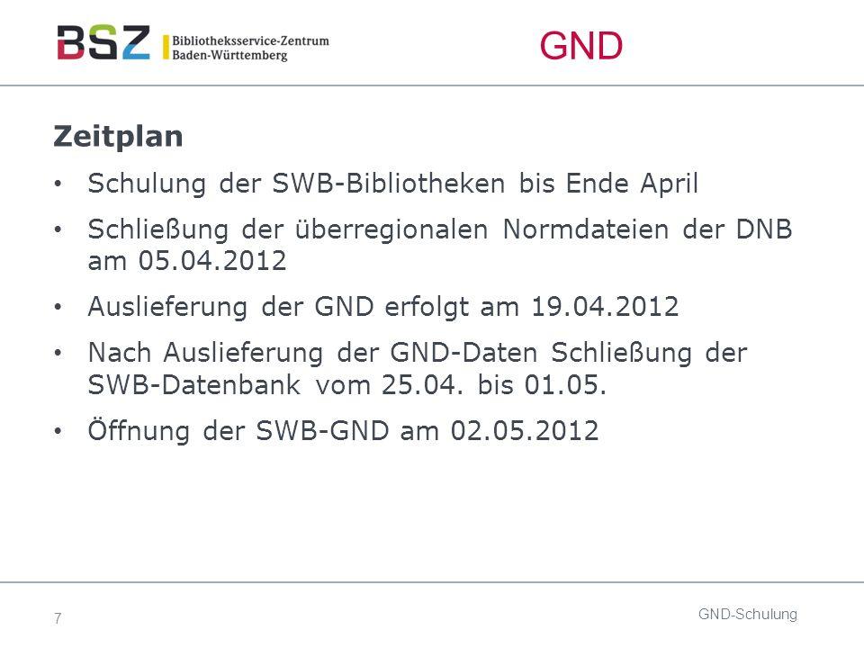 7 GND Zeitplan Schulung der SWB-Bibliotheken bis Ende April Schließung der überregionalen Normdateien der DNB am 05.04.2012 Auslieferung der GND erfolgt am 19.04.2012 Nach Auslieferung der GND-Daten Schließung der SWB-Datenbank vom 25.04.
