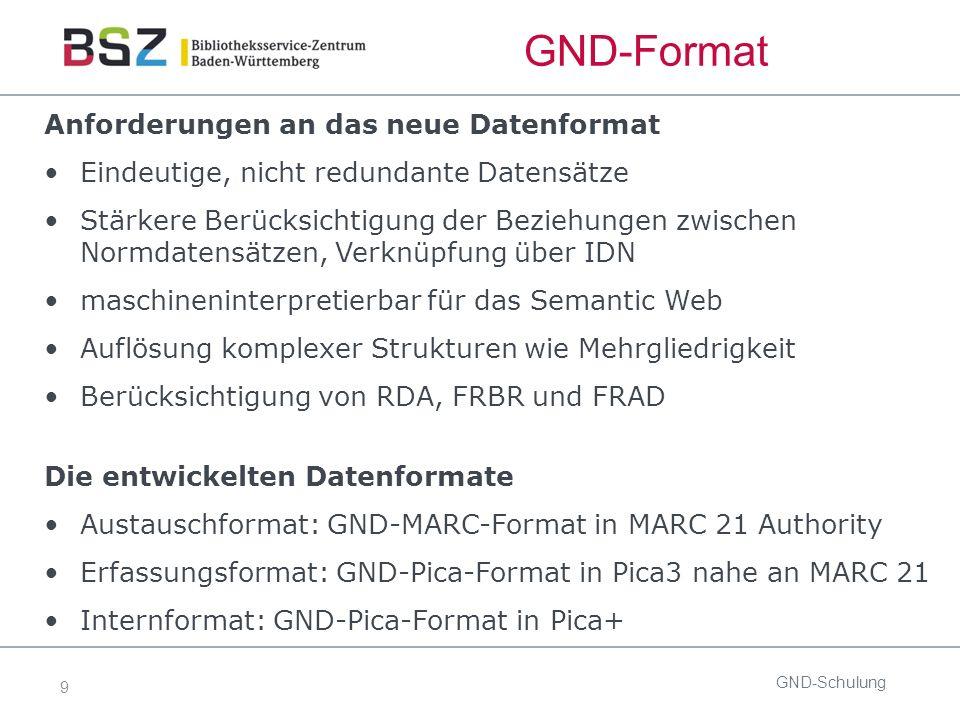 9 GND-Format Anforderungen an das neue Datenformat Eindeutige, nicht redundante Datensätze Stärkere Berücksichtigung der Beziehungen zwischen Normdatensätzen, Verknüpfung über IDN maschineninterpretierbar für das Semantic Web Auflösung komplexer Strukturen wie Mehrgliedrigkeit Berücksichtigung von RDA, FRBR und FRAD Die entwickelten Datenformate Austauschformat: GND-MARC-Format in MARC 21 Authority Erfassungsformat: GND-Pica-Format in Pica3 nahe an MARC 21 Internformat: GND-Pica-Format in Pica+ GND-Schulung