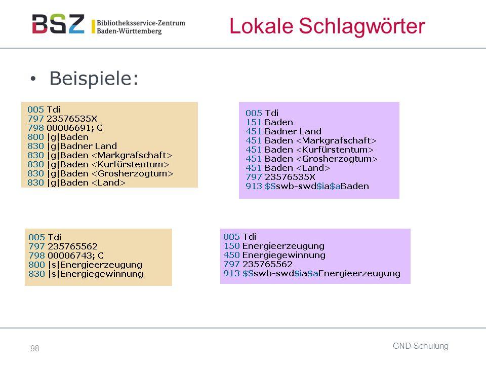 98 Lokale Schlagwörter Beispiele: GND-Schulung