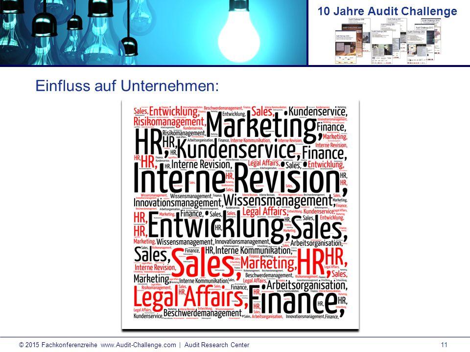 11 © 2015 Fachkonferenzreihe www.Audit-Challenge.com | Audit Research Center 10 Jahre Audit Challenge Einfluss auf Unternehmen: