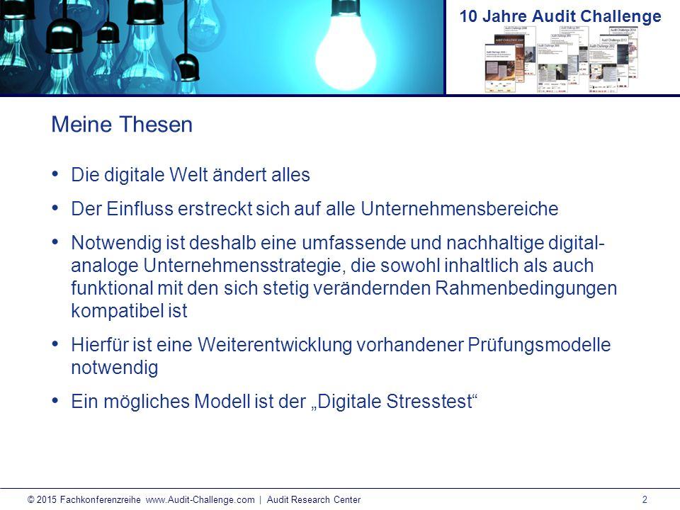 3 © 2015 Fachkonferenzreihe www.Audit-Challenge.com | Audit Research Center 10 Jahre Audit Challenge AB TechnologieKultur