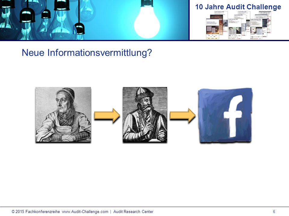 7 © 2015 Fachkonferenzreihe www.Audit-Challenge.com | Audit Research Center 10 Jahre Audit Challenge Neue Informationsvermittlung.