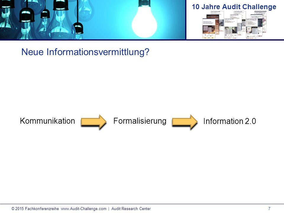 8 © 2015 Fachkonferenzreihe www.Audit-Challenge.com | Audit Research Center 10 Jahre Audit Challenge Digitale Herausforderung