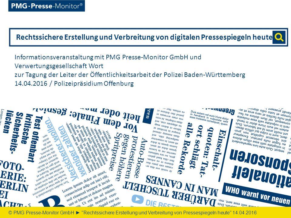 Inhalt © PMG Presse-Monitor GmbH ► Rechtssichere Erstellung und Verbreitung von Pressespiegeln heute 14.04.2016 1.Über uns03 2.Rechte | Archivierung 09 3.PMG Pressedatenbank 11 4.PMGbox 18 5.PMG MediaMeter 23