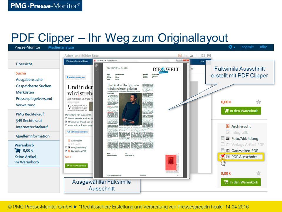 PDF Clipper – Ihr Weg zum Originallayout © PMG Presse-Monitor GmbH ► Rechtssichere Erstellung und Verbreitung von Pressespiegeln heute 14.04.2016 Ausgewählter Faksimile Ausschnitt Faksimile Ausschnitt erstellt mit PDF Clipper