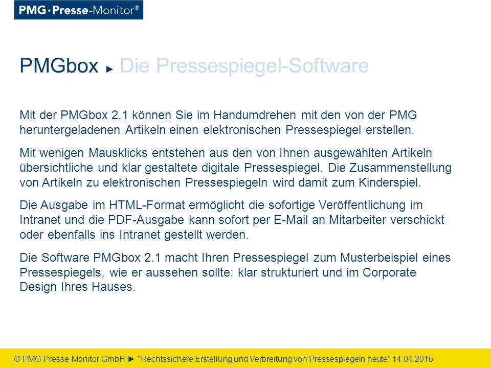 Mit der PMGbox 2.1 können Sie im Handumdrehen mit den von der PMG heruntergeladenen Artikeln einen elektronischen Pressespiegel erstellen.