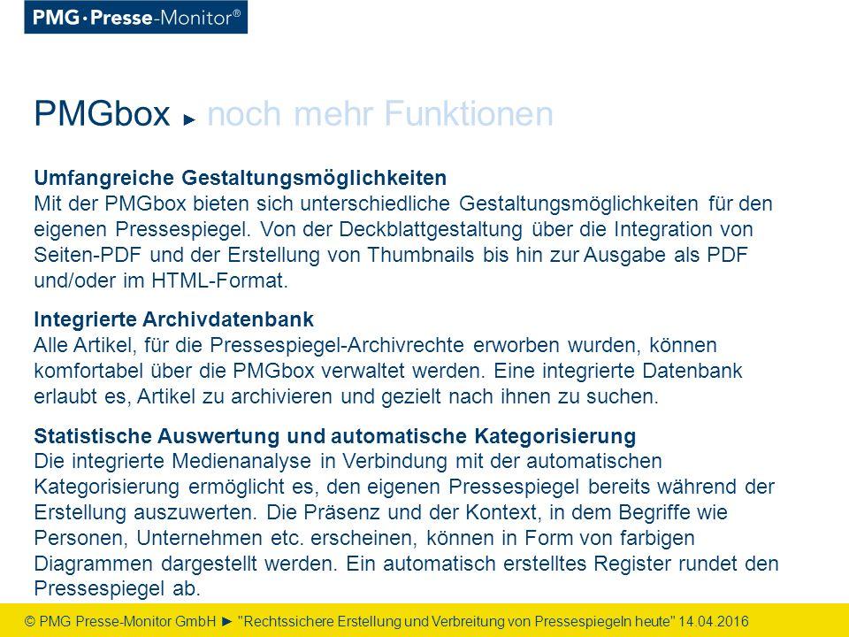 Umfangreiche Gestaltungsmöglichkeiten Mit der PMGbox bieten sich unterschiedliche Gestaltungsmöglichkeiten für den eigenen Pressespiegel.
