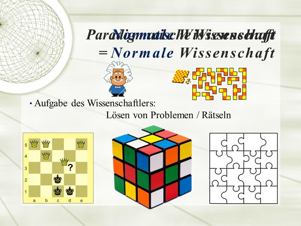 Paradigmatische Wissenschaft = Normale Wissenschaft Normale Wissenschaft Aufgabe des Wissenschaftlers: Lösen von Problemen / Rätseln