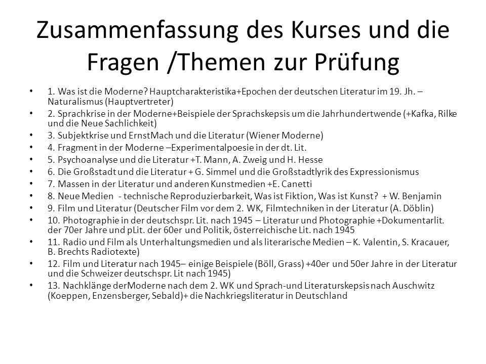 Zusammenfassung des Kurses und die Fragen /Themen zur Prüfung 1.