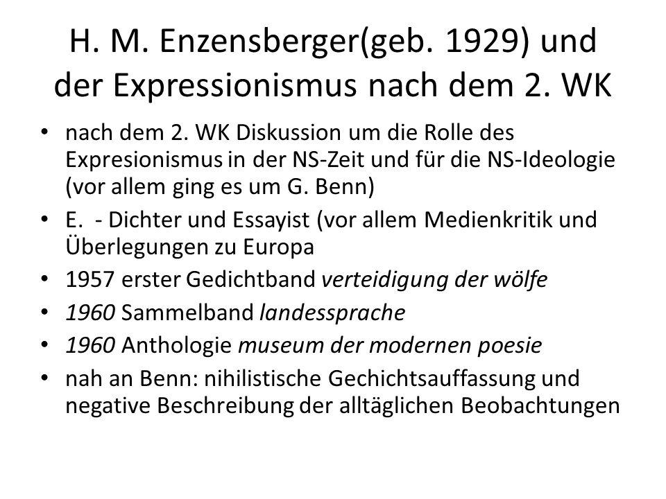 H.M. Enzensberger(geb. 1929) und der Expressionismus nach dem 2.