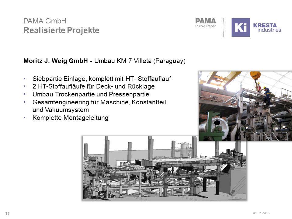 PAMA GmbH Realisierte Projekte Moritz J. Weig GmbH - Umbau KM 7 Villeta (Paraguay) Siebpartie Einlage, komplett mit HT- Stoffauflauf 2 HT-Stoffaufläuf