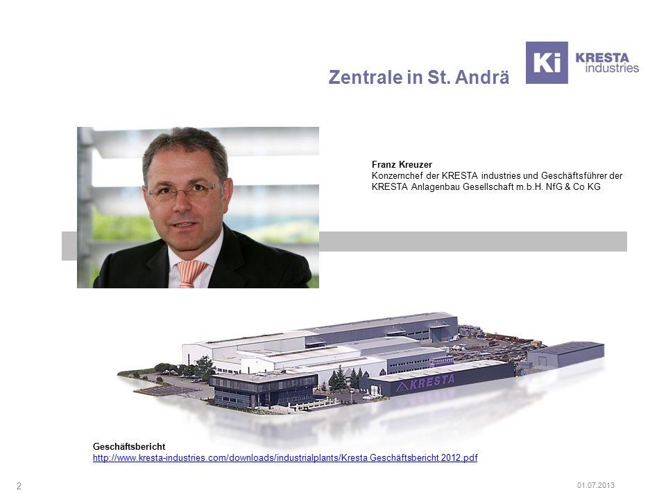 Zentrale in St. Andrä Franz Kreuzer Konzernchef der KRESTA industries und Geschäftsführer der KRESTA Anlagenbau Gesellschaft m.b.H. NfG & Co KG 2 Gesc