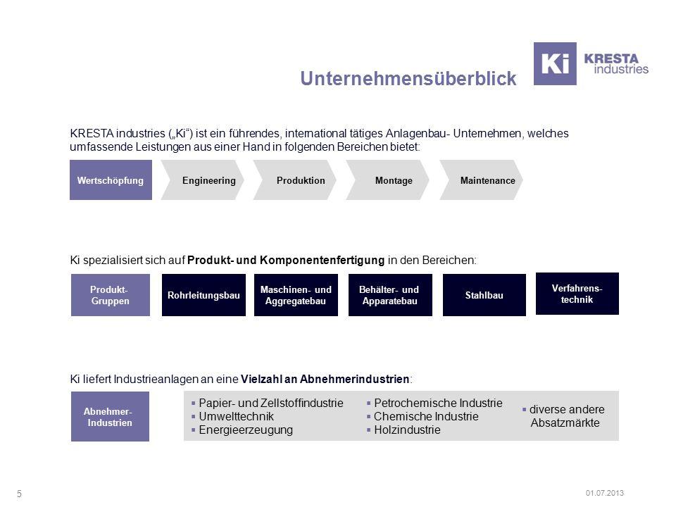 """KRESTA industries (""""Ki"""") ist ein führendes, international tätiges Anlagenbau- Unternehmen, welches umfassende Leistungen aus einer Hand in folgenden B"""