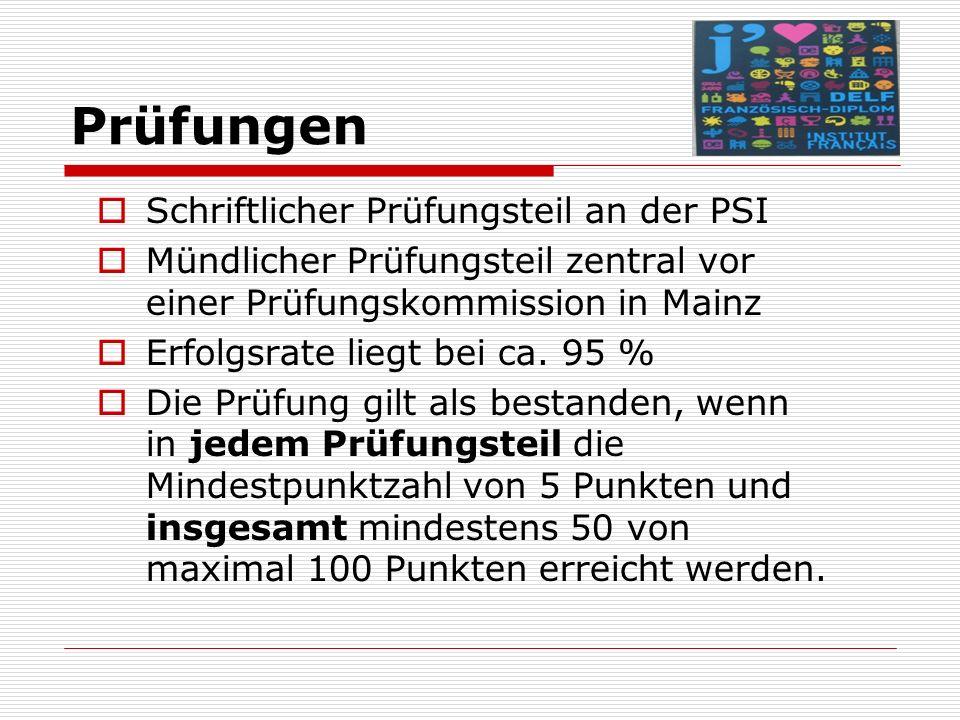 Prüfungen  Schriftlicher Prüfungsteil an der PSI  Mündlicher Prüfungsteil zentral vor einer Prüfungskommission in Mainz  Erfolgsrate liegt bei ca.