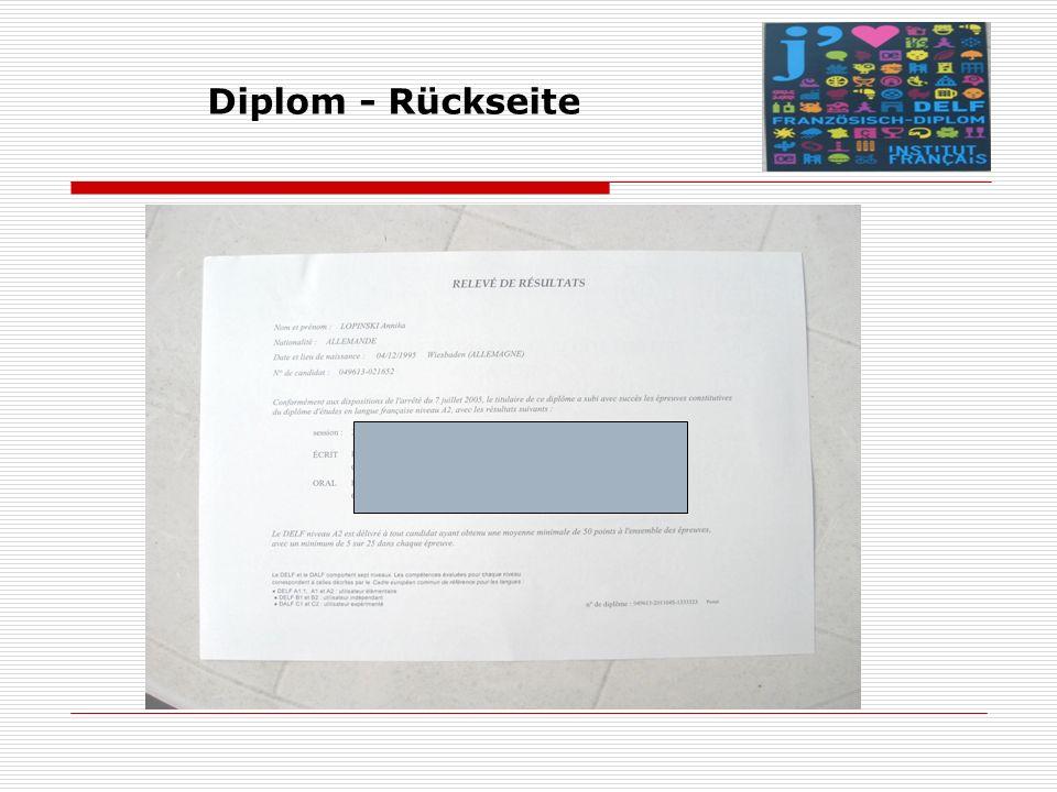 Diplom - Rückseite