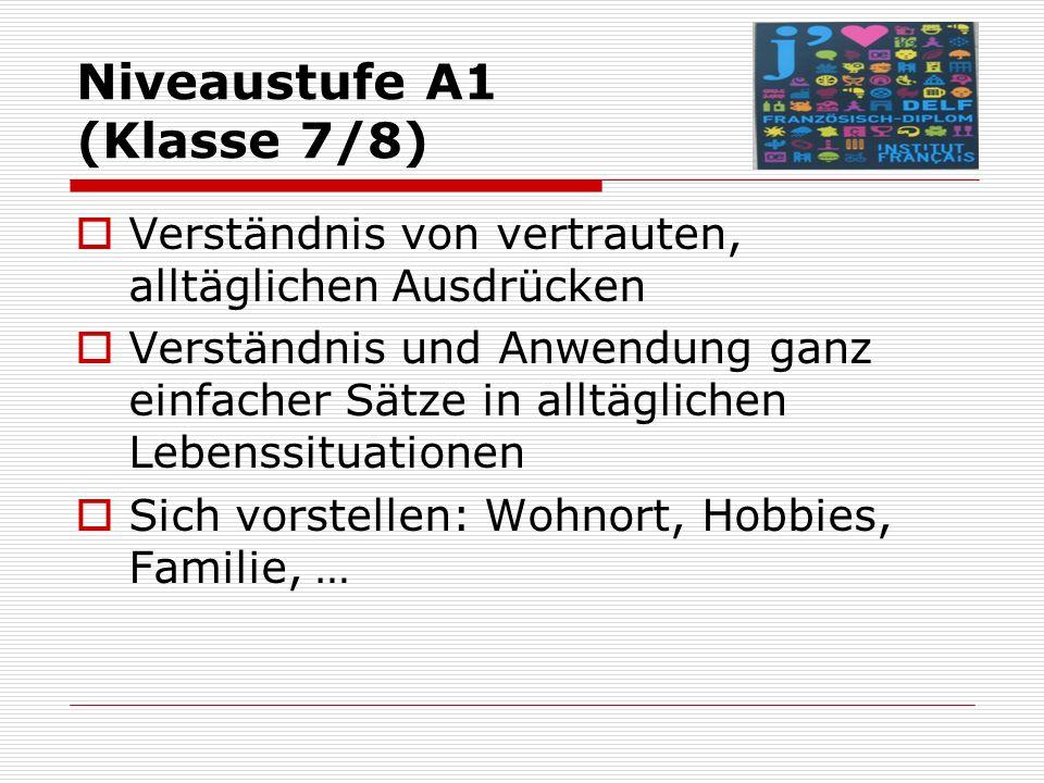 Niveaustufe A1 (Klasse 7/8)  Verständnis von vertrauten, alltäglichen Ausdrücken  Verständnis und Anwendung ganz einfacher Sätze in alltäglichen Lebenssituationen  Sich vorstellen: Wohnort, Hobbies, Familie, …