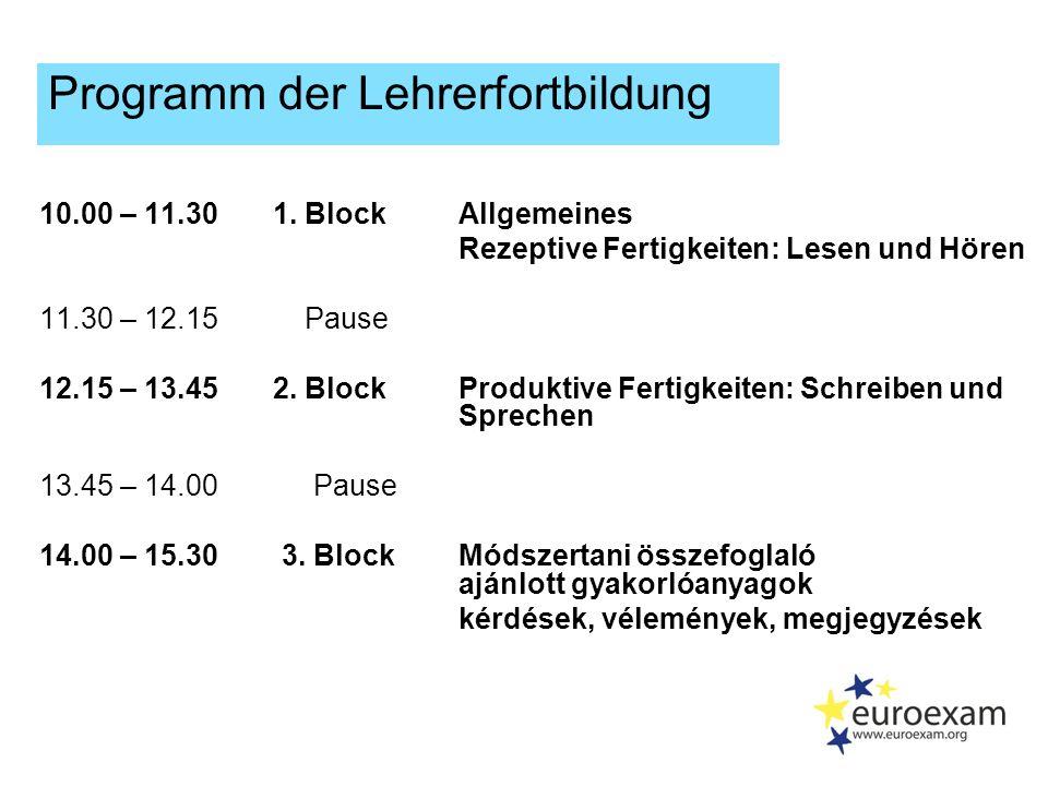 Euroexam Lehrerfortbildung Methodisches zur Prüfungsvorbereitung 1.