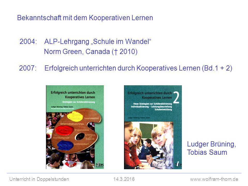 Unterricht in Doppelstunden14.3.2016www.wolfram-thom.de Didaktischer Ort  Vorwissen aktivieren  Schwierige Frage beantworten  Reflexion über einen Text/Film/...