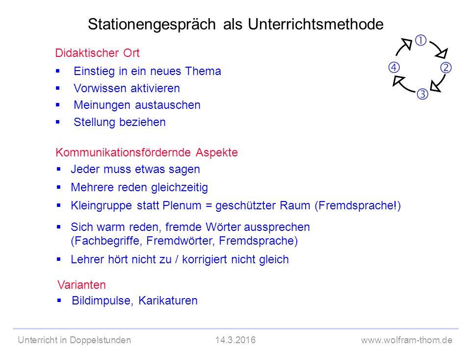 Unterricht in Doppelstunden14.3.2016www.wolfram-thom.de 2.