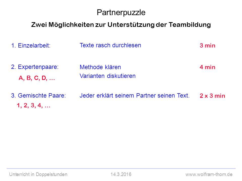 Unterricht in Doppelstunden14.3.2016www.wolfram-thom.de Zwei Möglichkeiten zur Unterstützung der Teambildung 1.