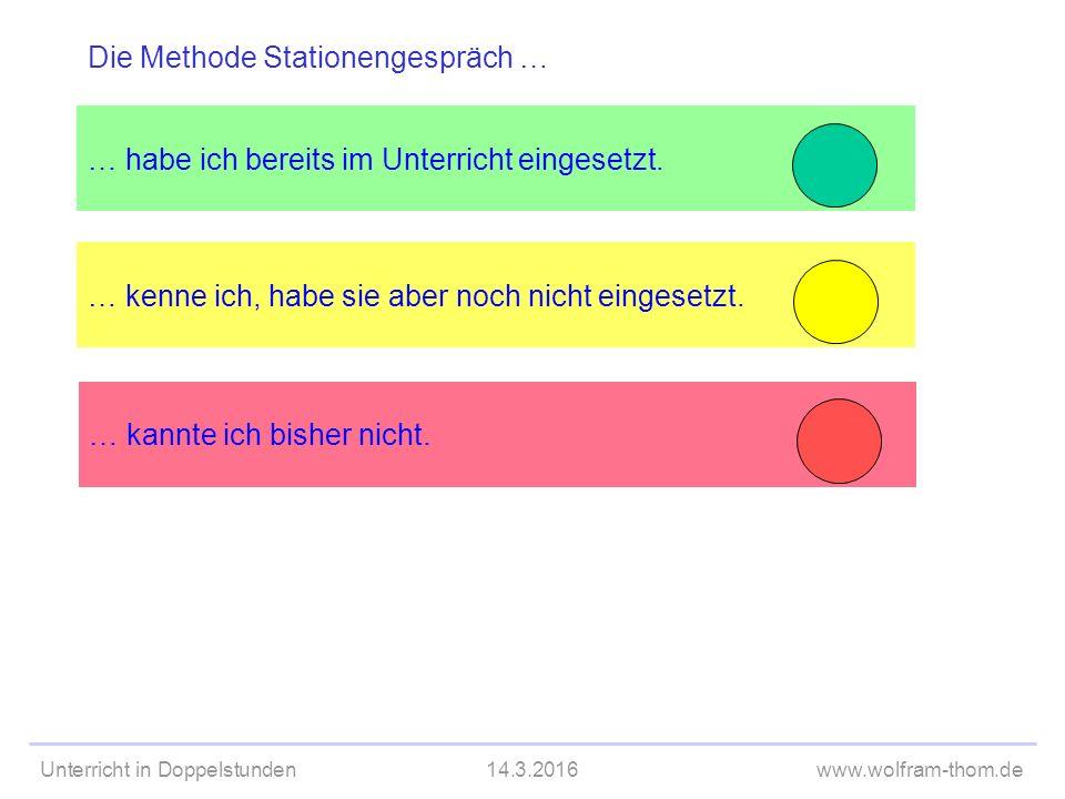 Unterricht in Doppelstunden14.3.2016www.wolfram-thom.de Ko-Konstruktion Instruktion Was folgt daraus für das Lehren.