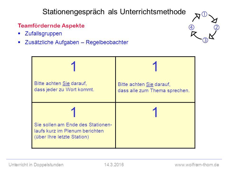 Unterricht in Doppelstunden14.3.2016www.wolfram-thom.de Sitzplan für Placemat überlegen Pult