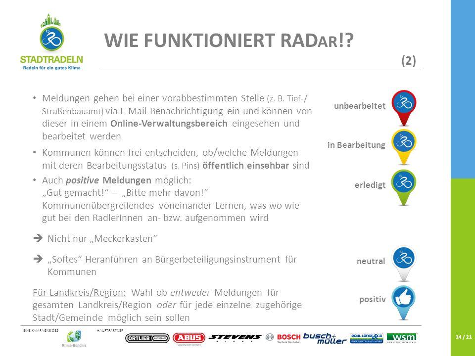 HAUPTPARTNEREINE KAMPAGNE DES 14 / 21 WIE FUNKTIONIERT RAD AR !? (2) Meldungen gehen bei einer vorabbestimmten Stelle (z. B. Tief-/ Straßenbauamt) via