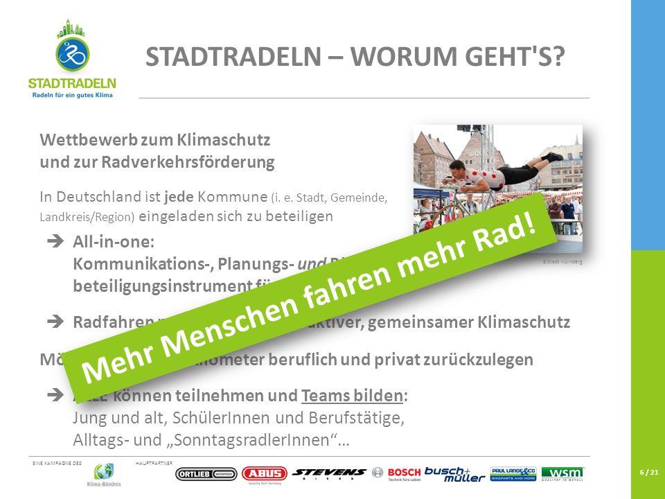 HAUPTPARTNEREINE KAMPAGNE DES 6 / 21 ©Stadt Nürnberg STADTRADELN – WORUM GEHT'S? Wettbewerb zum Klimaschutz und zur Radverkehrsförderung In Deutschlan