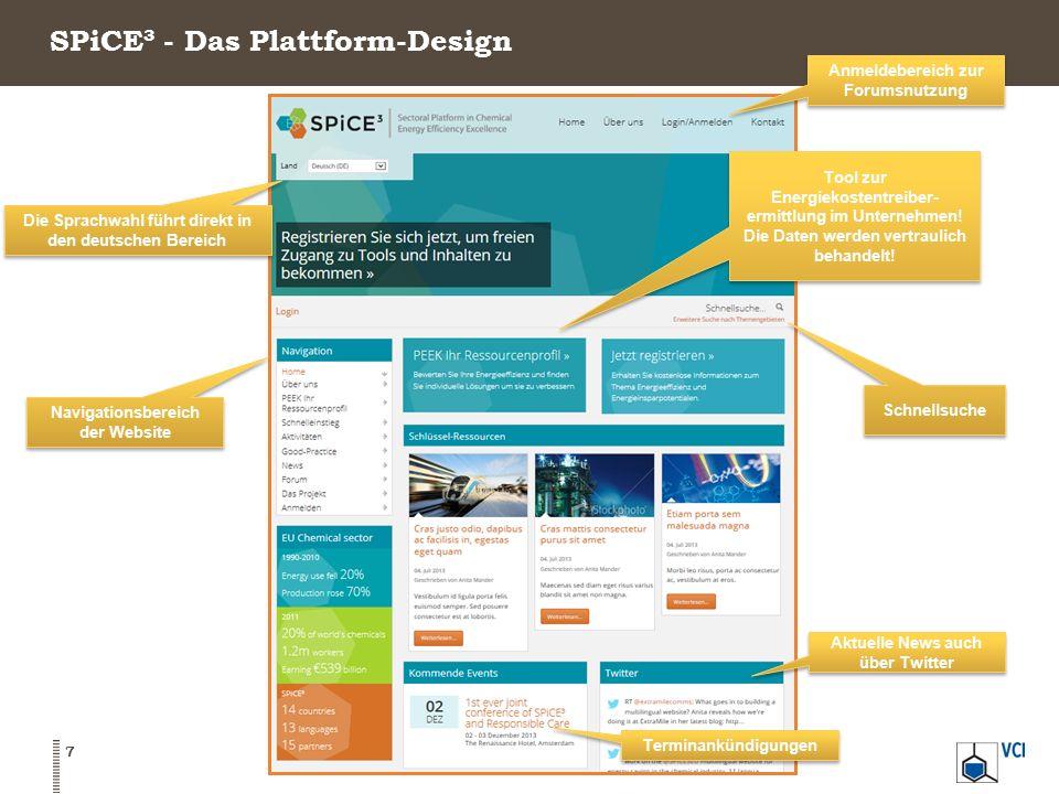 SPiCE³ - Die Plattform-Navigation Login BrowsenInteragieren und Einladen Möglichkeit Dokumente herunterzuladen Eigenes Online-Profil 8 Ankunft auf: www.SPICE3.eu Nur Browsen möglich.