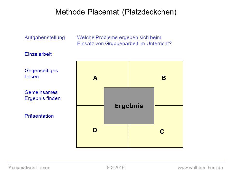 Kooperatives Lernen9.3.2016www.wolfram-thom.de D C BA AufgabenstellungWelche Probleme ergeben sich beim Einsatz von Gruppenarbeit im Unterricht.