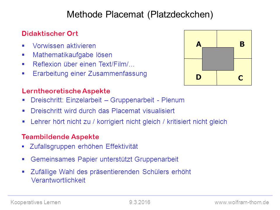 Kooperatives Lernen9.3.2016www.wolfram-thom.de Didaktischer Ort  Vorwissen aktivieren  Mathematikaufgabe lösen  Reflexion über einen Text/Film/...