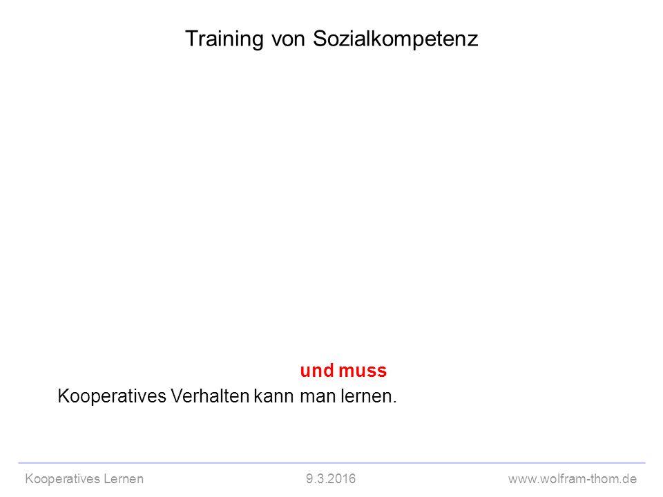 Kooperatives Lernen9.3.2016www.wolfram-thom.de Kooperatives Verhalten kann und muss man lernen.